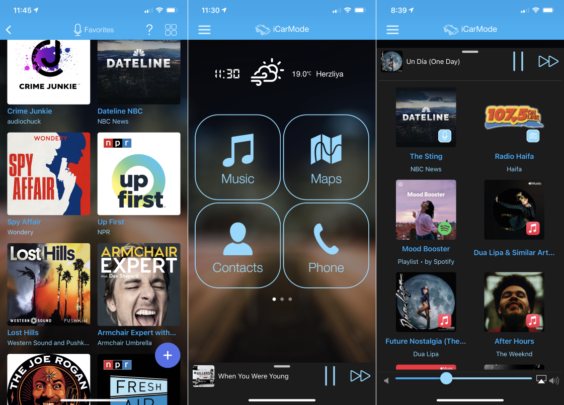 iCarMode adds Podcasts Player to the Car Dashboard App Image
